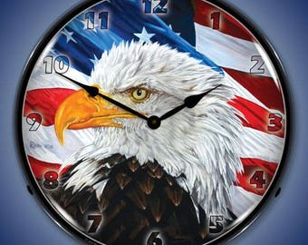 NEW US AIR FORCE MILITARY EAGLE BACKLIT LIGHTED RETRO CLOCK FREE SHIPPING*