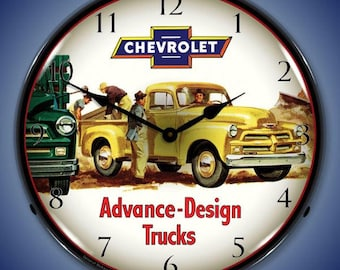 LED 1965 Chevrolet Truck 14 Backlit Lighted Advertising Sign Clock Vintage Style Retro Auto Gas Oil Garage Art 1409548 FREE Shipping