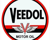Veedol Motor Oil Sign, Vintage Aged Style OR New, 22g Metal Sign, 4 Sizes Available, USA Made Vintage Style Retro Garage Art RG