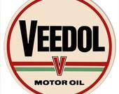 Veedol Motor Oil Sign, 4 Sizes, 22g Metal Sign, USA Made Vintage Style Retro Garage Art