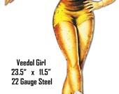 Veedol Pin Up Girl Motor Oil, Laser Cut Out 22 Gauge Metal Sign, USA Made Vintage Style Retro Garage Art, RG 8548s