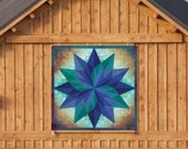 Barn Quilt Starburst Around The World Metal Sign with UV Protection, 6 Sizes, Amish country home decor wall art AQP