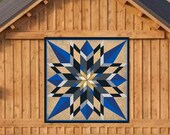 Barn Quilt Sixteen Point Star Blue, Square Metal Sign with UV Protection, 6 Sizes, Amish country home decor wall art AQP