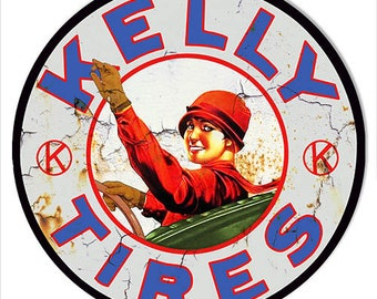 Vintage Kelly Tires Garage Sign Keychain Key Holder Round MDF Wood Sign