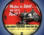 LED Veedol Tractor Oil 14 quot Backlit Lighted Advertising Sign Clock Vintage Style Retro Auto Gas Oil Garage Art 1703744FREE Shipping