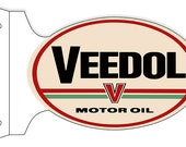 Veedol Motor Oil Metal Sign, Oval Double Sided with Flange ,USA Made Vintage Style Retro Garage Art RG