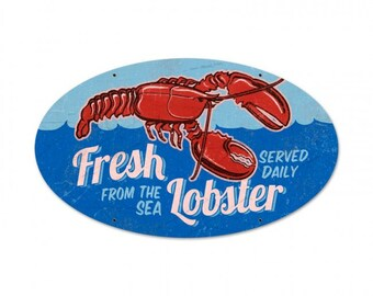 5dac00439def Fresh Lobster Retro Planet advertising metal sign