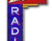 1936 Zenith Radio, Marquis advertising metal sign, 2 Sizes, nostalgic vintage style home decor wall art, LGB PS