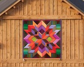 Barn Quilt Box Pattern Log Cabin Metal Sign with UV Protection, 6 Sizes, Amish country home decor wall art AQP