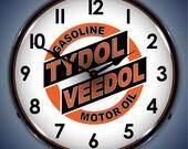 LED Tydol Gas Veedol Motor Oil 14 quot Backlit Lighted Advertising Sign Clock Vintage Style Retro Auto Gas Oil Garage Art 201012277