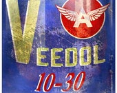 Veedol Motor Oil Can, Plasma Shape Metal Sign, 2 Sizes Available Aged OR New Style, USA Made Vintage Style Retro Garage Art, RG