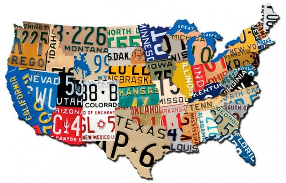 License Plate United States Map.Usa License Plate Map 25 X 16 Metal Art Plasma Cut Custom Etsy