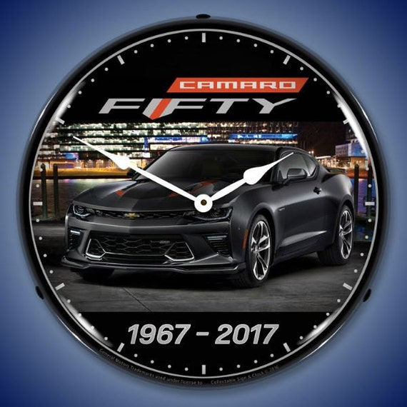 2017 Camaro 50th Anniversary >> Led 2017 Camaro 50th Anniversary 14 Backlit Lighted Advertising Sign Clock Vintage Style Retro Auto Gas Oil Garage Art 1411561