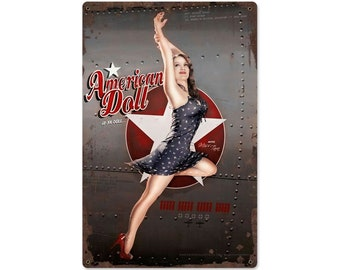 American Doll WWII Aircraft Nose Art Pinup Girl, Wings of Angels,  Metal Sign, Vintage Style Retro Aviation Garage Art Wall Decor PS