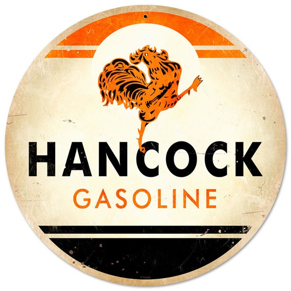 Hancock Gasoline Metal Sign Usa Made Vintage Style Etsy