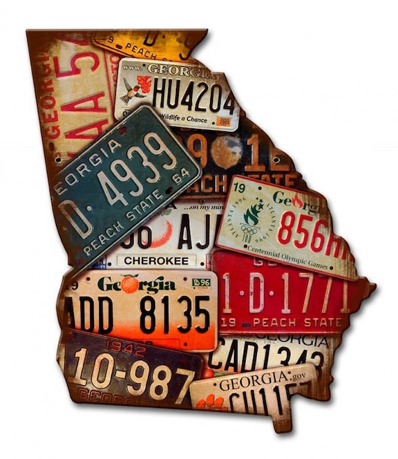 Georgia License Plate Map, metal art sign, american made, vintage style, on map wall decor metal art, map made of books, map white on white art, map made of tools, map of united states license, map made of paper, map made of flowers, map made of buttons,