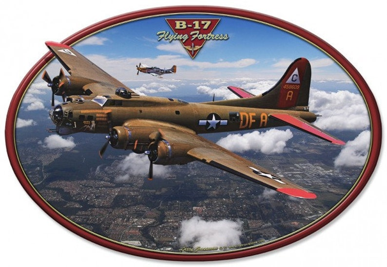 8ec2751e26d B-17 Flying Fortress Fighter Airplane Custom Shape Metal Sign