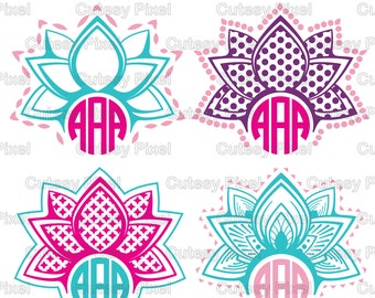 lotus monogram frames svg cutting file lotus designs svg dxf cricut designs silhouette studiodigital cut files