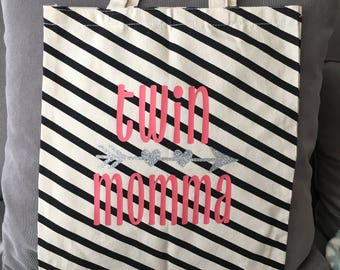 Twin Momma Canvas Tote Bag