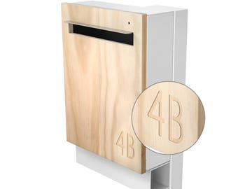 Modern Custom Mailbox - Javi Large Post Mount Letterbox - White Aluminium Body + Post, Stainless Steel Visor and Hardware + Timber front.