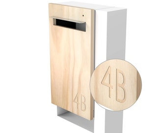 Modern Custom Mailbox - Javi Post Mounted Letterbox - White Body + Post, Stainless Steel Visor and Hardware + Timber front.