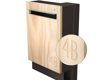 Modern Custom Mailbox - Javi Large Post Mount Letterbox - Charcoal Aluminium Body + Post, Stainless Steel Visor and Hardware + Timber front.