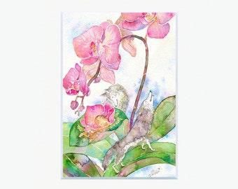 Wolf & Phalaenopsis Art Print