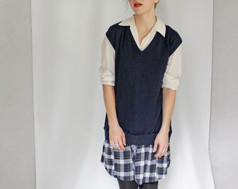 Refashioned Sweater Dress, Sleeveless V Neck Sweater Dress with Shirt Tail Plaid Skirt, Eco Conscious Fashion, Navy Plaid Dress, Color Block