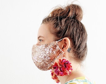 Rose Gold Sequin Face Mask Covid Size Medium (women's) with ear straps