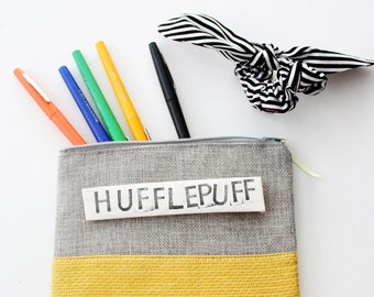 CUSTOM PHRASE zipper pouch grey and yellow sustainably made with scraps funny gift custom saying Hufflepuff Hogwarts house