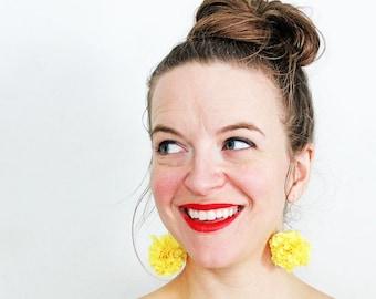 Yellow Pom Pom Earrings, Giant Pom Pom, Statement earrings, Bright yellow, Fabric ball earrings,