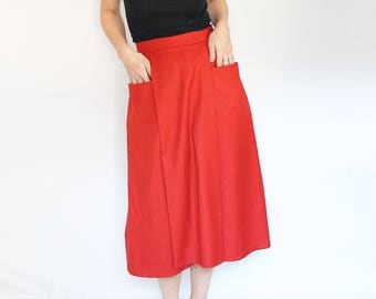 Red midi length wool skirt with big pockets, pleated a line skirt poppy red pocket skirt eco friendly modest clothing handmade vintage style