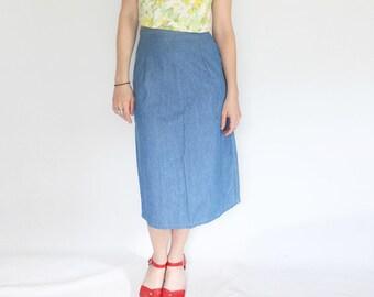 f7290f5559 SAMPLE SALE Upcycled Denim Midi Length Straight Skirt Minimalist Denim Skirt  Blue Lightweight Denim High Waist Skirt Sustainable Fashion
