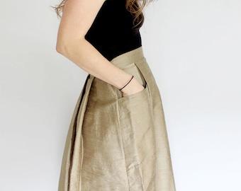 SHORT Sage Green pleated skirt with pockets A line Dupioni silk mini pocket skirt sustainable fashion taupe short flared skirt minimalist