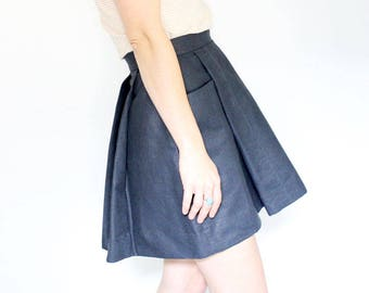 Navy full pleated skirt with big pockets short mini length denim skirt a line capsule wardrobe full body eco conscious fashion solid color