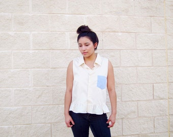 Eco Friendly Peplum Sleeveless Top Button Down Light Yellow Top Contrast Pocket Sustainable Fashion Handmade Clothing Women's Conscious Top