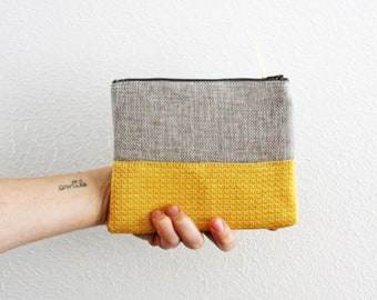 CUSTOM PHRASE zipper pouch grey and yellow sustainably made with scraps funny gift custom saying