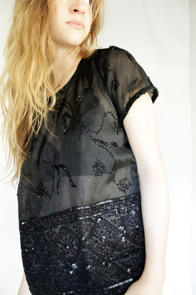 Eco Conscious Fashion Beaded Silk Shirt SAMPLE SALE Upcycled Black Sequin Top Sheer Button Back Top Womens Clothing under 100
