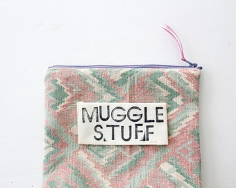 CUSTOM PHRASE standing zipper pouch pink and green sustainably made with scraps funny gift custom saying muggle stuff