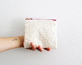 Small zipper pouch white large Swiss dot with pink zipper sustainably made with scraps coin purse makeup pouch