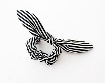Black and white stripe bow scrunchie, stocking stuffer, stripe and plaid set, geometric scrunchie, scrunchie set