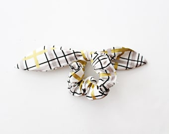 Black and gold plaid bow scrunchie, stocking stuffer, stripe and plaid set, geometric scrunchie, scrunchie set
