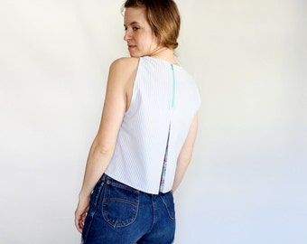 Summer tank crop top with pocket and exposed zipper spring fashion sustainably made eco conscious clothing for her simple spring floral tank