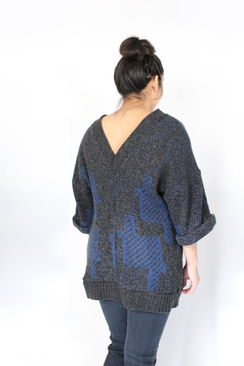 SAMPLE SALE Oversized Refashioned Sweater Loose Fit Reversible Grey and Blue Sweater Tunic with Cuffed Sleeves Eco Conscious Knit Top