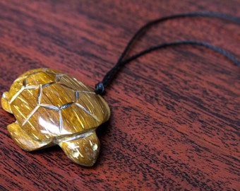 Hand-carved Wood Turtle Necklace