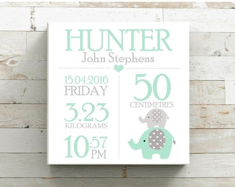 Personalised Birth Details Print Baby CANVAS Wall Art ~ Sizes 30x30cm OR 40x40cm