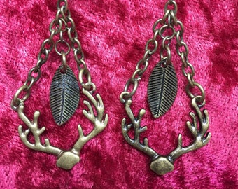 Dangle bronze antler and leaf earrings. Free shipping.