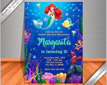 PERSONALIZED Invitation Little Mermaid Birthday Ariel Party Princess Free Thank You Card