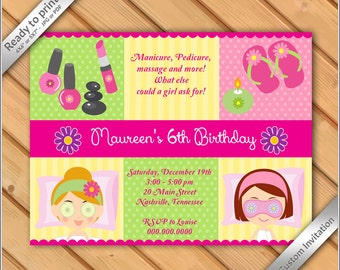 Original invitations etsy 50 off sale spa party invitations for girls makeover or manicure pedicure birthday party printable digital file you print stopboris Choice Image