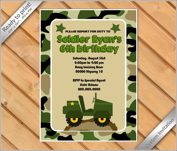 PERSONALIZED Invitation Camoflauge Birthday Invitation Printable